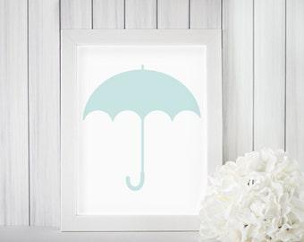 Blue Umbrella Print, Blue Umbrella Art, Blue Umbrella Wall Decor, Umbrella Nursery Print, Umbrella Wall Art, Nursery Silhouette 8x10