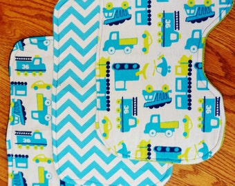 Baby Boy Construction/Trucks Burp Cloths - Set of 3
