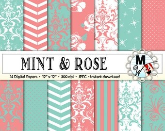 Mint Rose Digital Paper Pack for Instant Download as Mint Rose Scrapbook Paper, Background, Patterns Printable Paper for Cards & Invitations