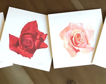Set of 4 Pink Roses - Watercolor Rose Fine Art Note Cards