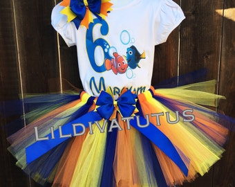 Handmade Finding Nemo and Dory Tutu Set / Nemo tutu set / Dory tutu set / Finding nemo birthday shirt / finding nemo birthday outfit
