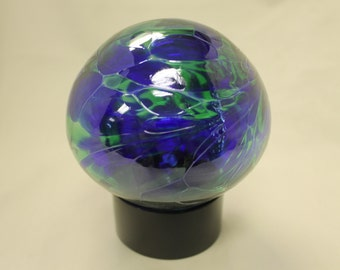 10cm Friendship /Kugel / Witches Orb Blue and Green with Display Ring