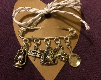 Scout, Girl Guide, Brownie, Cub Brooch. Camp, Backpack Charm Brooch Jewellery. Silver. Quirky Gift. Scout Leader.