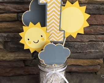 ON SALE You Are My Sunshine Centerpiece Happy Birthday Sunshine Party Decor Photo Prop Suns Chevron Yellow And Gray Birthday Decorations I a