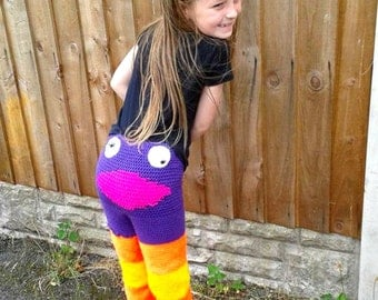 Monster Trousers, Monster Pants, Kids Fashion, Crochet Clothes, Birthday Gift, leggings, young kids, novelty clothes, gag gift, Christmas