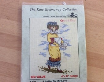 The Kate Greenaway Collection ,A Letter To My Love , counted cross stitch kit by D M C FREEPOST UK