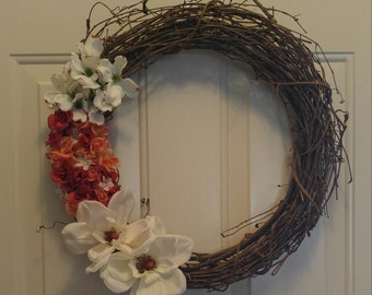 Flower Grapevine Wreath