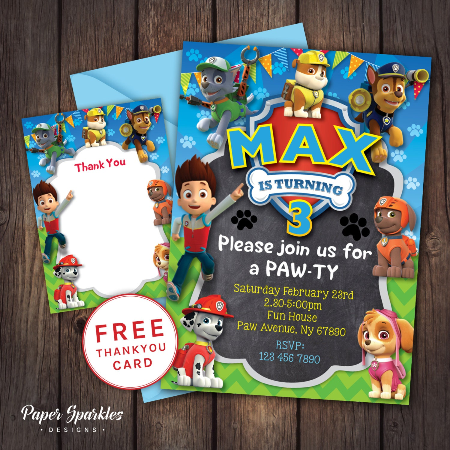 Paw patrol party paw patrol invitation paw by papersparkledesigns for Paw patrol invitation ideas