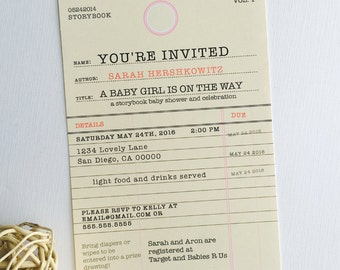 Story Book Baby Shower Invitation • Old Library Card Invitation • Library Shower • Library Card • Baby Shower Invitation • Book Theme Shower