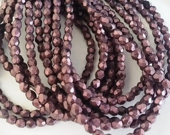 3mm Metallic Suede Pink, Czech Fire Polish Glass Faceted Round Bead, 79086 - 50 Beads