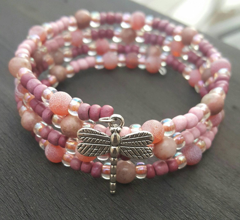 Memory Charm Bracelets: Memory Wire Bracelet With Beautiful Jasper Stone Beads And