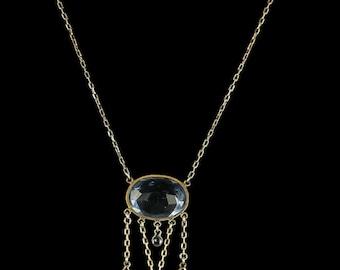 Antique Edwardian Blue Paste Necklace - Circa 1910