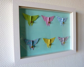 """Child frame Butterfly Origami """"Pastel"""" mural room baby and child"""