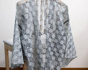 Haori Kimono Black&White race sunshade