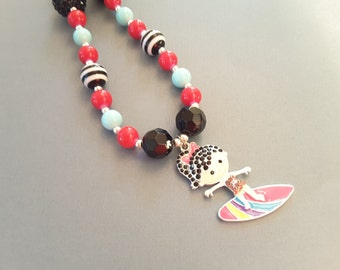 Little Surfer Girl Necklace . Kid's Shop . Character Necklace