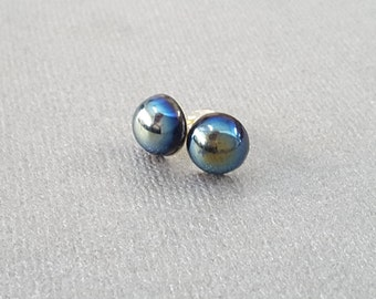Black Iridescent Studs . Earrings