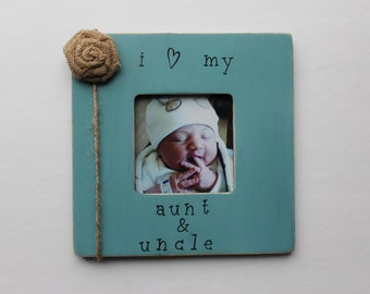 Aunt and Uncle Picture Frame, Turquoise Photo Frame, Rustic Picture Frame