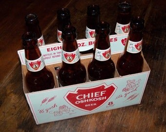 Chief Oshkosh 8 pack with 8 - 12 ounce bottles, Very Nice!