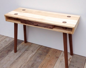 Midcentury modern desk, handmade in solid ash and walnut wood (with secret compartment)