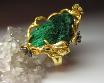 Malachite Gold plated silver Ring