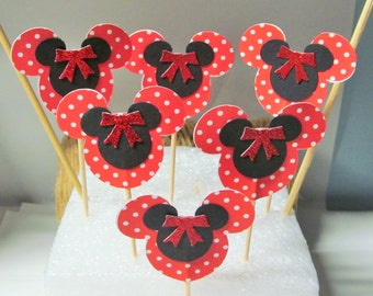 Mickey Mouse Red Polka Dot Cupcake Toppers, Food Picks, Dessert Bars, Baby Showers, Birthday Parties