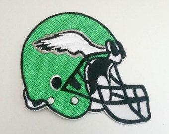 """Philadelphia Eagles Helmet Iron On Patch 3 1/4"""" x 2 7/8"""" Football Logo Sewn On or Iron On Free Shipping"""