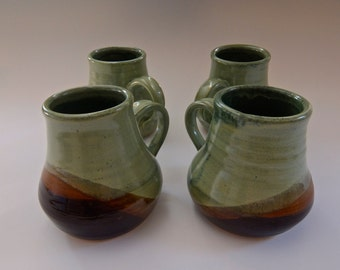 Green with Rust 4 Cup Set
