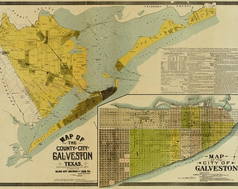 Map of the Galveston, Texas 1891.  Vintage restoration hardware home Deco Style old wall reproduction map print.