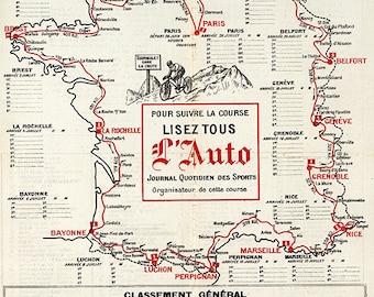 Tour de France Cycliste, 12e Annee 1914. Vintage Reproduction Poster Print