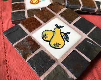 Handmade Stone Tile Talavera Coasters: Peaches and Pears   (decorative, ceramic coasters, M