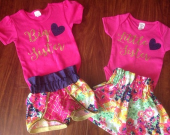 Big Sister Little Sister Outfits T-shirt Tee//Family Pictures//Pregnancy Anouncement//Matching Sister Outfits//Big Sis Little Sis Outfits//