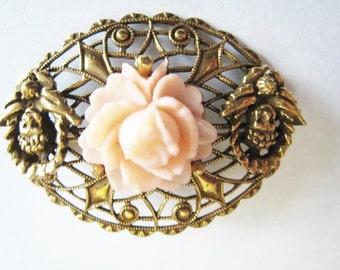 Gold Tone Pink Flower Pin