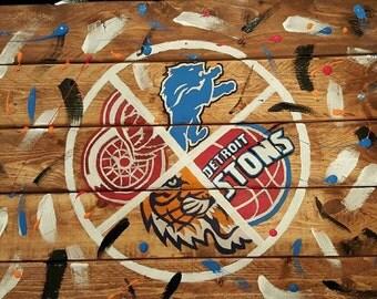 Custom sports team wood pallet/  custom wall art / sports pallet wood/ sports logos sign/ pallet sign/ sports fan wall art/ sports team sign