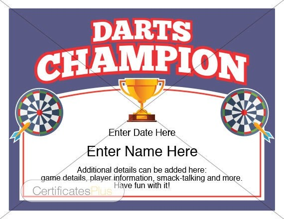 Darts Certificate, Darts award template, darts, dart board, darts ...