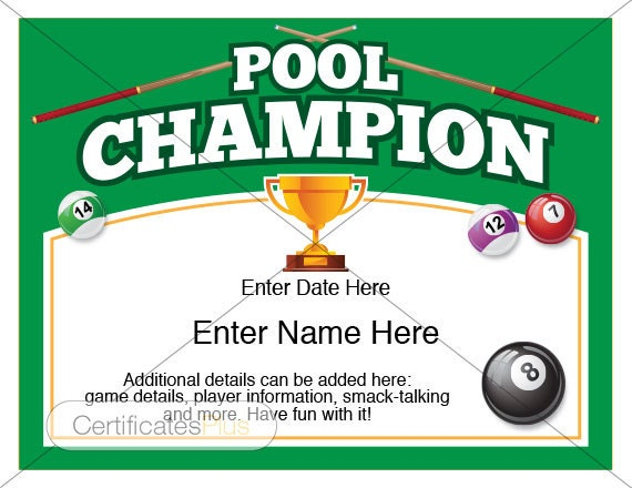 Pool certificate pool champion award pool award template for Pool design certification