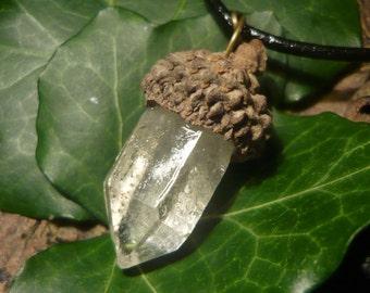 Crystal Acorn - Natural Pendant with Quartz Crystal