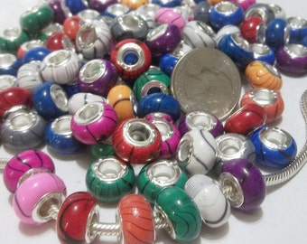 25 pc LARGE HOLE European Style Resin Charm Beads Fits/Compatible Bracelet (Y37)