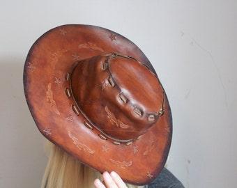 Vintage Leather Hat With Imprinted Design