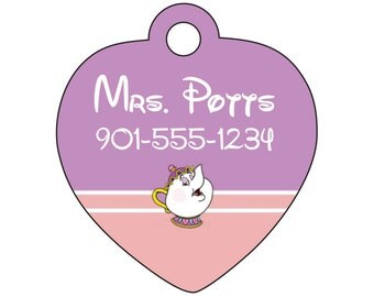 Disney Beauty And The Beast Mrs Potts Pet Id Tag For Dogs Cats Personalized W