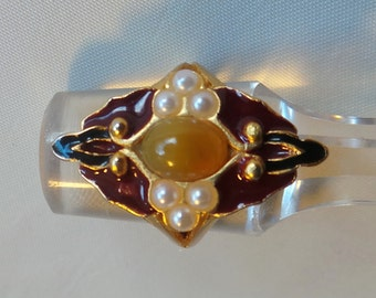 Ring Emanuel Ungaro vintage size 54 brass gold enamel cabochon in yellow calcite