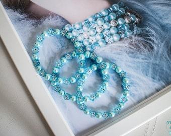 Handmade Bracelet, Beaded Bracelet, Blue Bracelet, Pastel Blue Bracelet, Floral Bracelet, Gift for Her