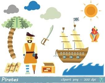 Pirates clip art images - for Scrapbooking Card Making Paper Crafts - instant download digital file - PNG