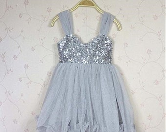 Gray Sequence and Tulle Dress