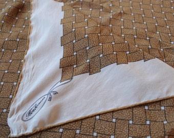 vintage Borbonese Quality weighted silk twill scarf plump hand rolled edges