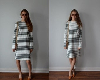 1990s Celine Green and White Striped Cotton Dress, Celine, Cotton Dress, Long Sleeved Dress, Dress