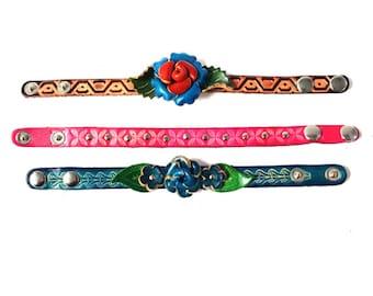 Genuine Leather Bracelet, Flowers Leather Bracelet, HFF152546