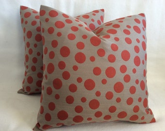 Dot Designer Pillow Cover Pair - Burnt Orange/Taupe