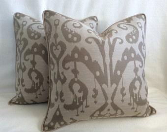 Neutral Ikat Designer Pillow Cover Set - Taupe/ Beige