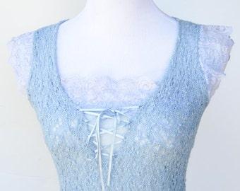 Vintage super sexy lace tank top blouse light blue size XS