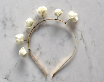 White Rose Flower Headpiece / Fascinator - Gold Headband